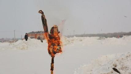 Burning Pancake doll in Russia