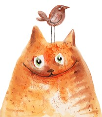 Red cat with brown bird on his head. Vector