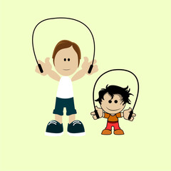 Dad jumping rope with your child