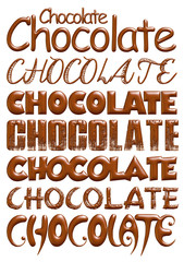 chocolate text isolated on white background