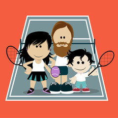 Dads playing tennis with his son on color background