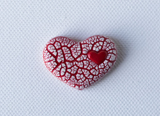 Red Crackled Heart on White Canvas
