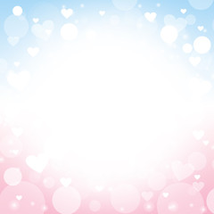 Heart shape pink and blue background