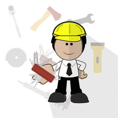 engineer with his Swiss Army knife over background with tools ic