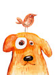 Red dog with bird. Watercolor. Hand drawing