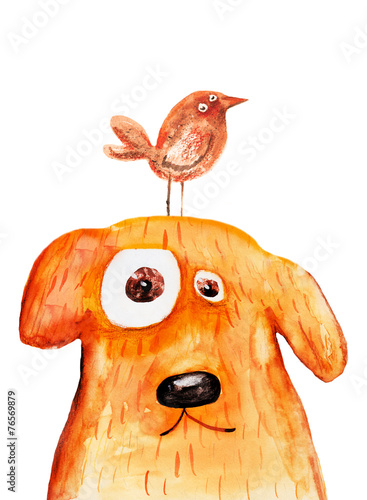 Fototapeta Red dog with bird. Watercolor. Hand drawing