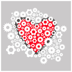 In love with a heart of gears, cog and  mechanism. Vector flat
