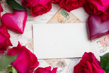 vintage background with hearts and roses