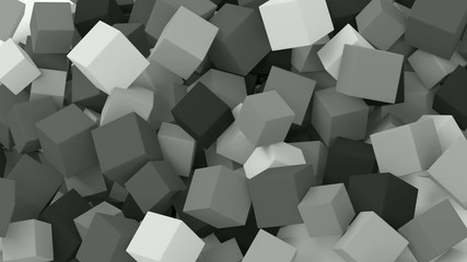 Falling cubes. Black and white animation.