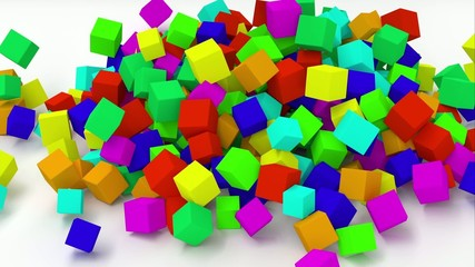 Falling multicolored cubes. 1080p animation.