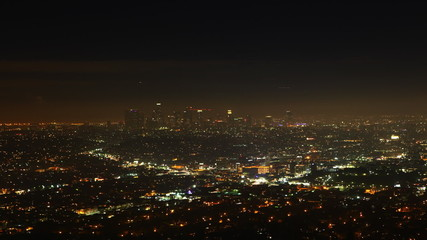 A timelapse view over Los Angeles at night