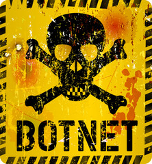 botnet infection warning sign,grungy style, vector illustration