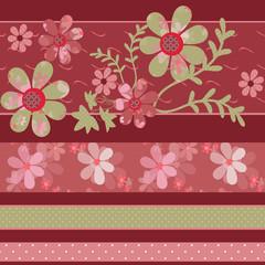 Patchwork retro colors geometrical floral pattern texture backgr
