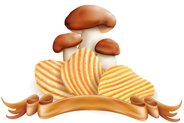Potato chips and white mushrooms