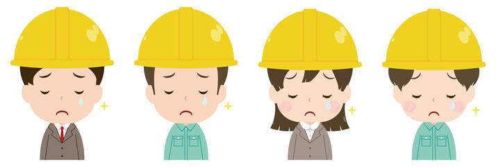 作業員 顔 セット 悲しみの涙