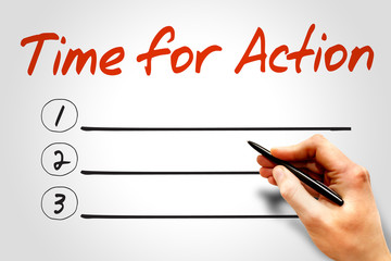 TIME FOR ACTION blank list, business concept