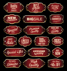 Dark red and gold labels