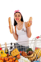 woman standing with bread in the hands of the food trolley