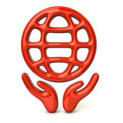Orange hands holding globe