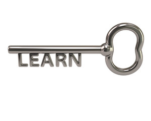 Silver key with word learn