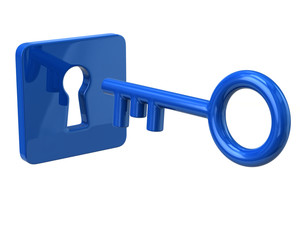 Blue key and keyhole