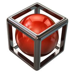 Red sphere in abstract silver cube