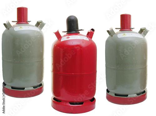 Leinwanddruck Bild Propangasflaschen (graue Eigentumflasche, rote Mietflasche)