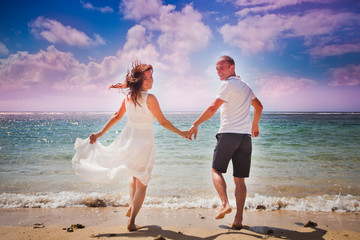 couple at blue beach