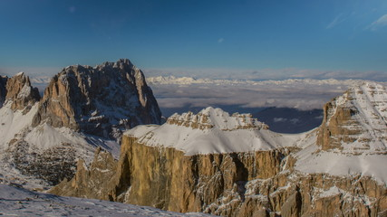 Sella Group , Sasso Lungo peaks distant clouds and peaks