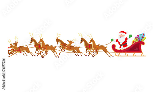 Santa Sleigh and Reindeer - 76577236