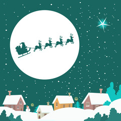 Santa riding his Sleigh across the Winter Sky