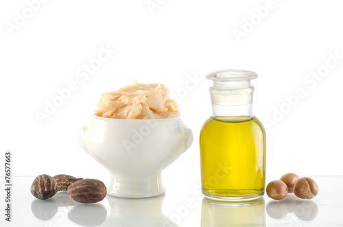 Argan oil and fruits with Shea butter and nuts - 76577663