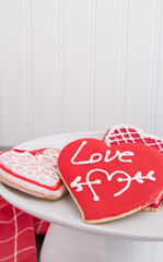 Plate of Valentine cookies in country kitchen