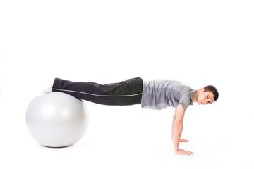 Push-ups on fitness ball