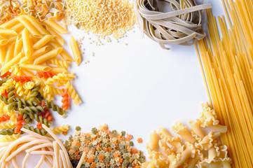 framework of uncooked pasta isolated