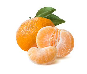 Whole mandarin peeled half and slice isolated on white