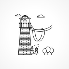 Black icon for rope jumping tower