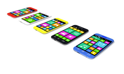 Multicolored smartphones with a variety of software applications