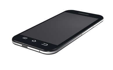 Black smartphone is on white background.