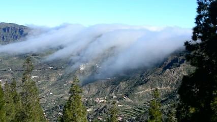 Clouds through the mountain, Roque Nublo, Gran Canaria