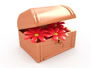 Open treasure box with flowers, 3D