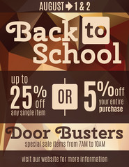Fun back to school flyer advertisement design template