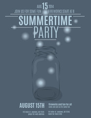 mason jar background flyer template for a summer party vector