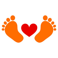 Baby feet with heart