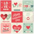 Valentine`s day set - emblems and cards. Vector illustration. - 76582886