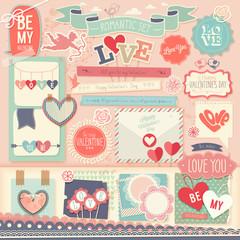 Valentine`s Day scrapbook set - decorative elements