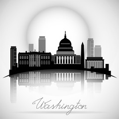 Washington DC Skyline Design. Vector silhouette