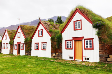 Old architecture typical rural turf houses, Iceland, Laufas