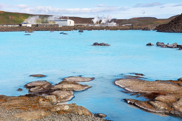 Station of geothermal production at Blue Lagoon, near Reykjavik