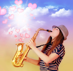 Girl playing the saxophone and the flow of hearts